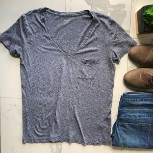 Madewell Basic Grey V Neck Tee Shirt